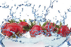 Strawberry and Splashing water Royalty Free Stock Image