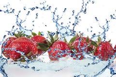 Strawberry and Splashing water Royalty Free Stock Image