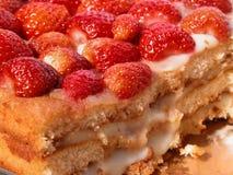 Strawberry Sponge Cake. With creamy almond cream Royalty Free Stock Photo