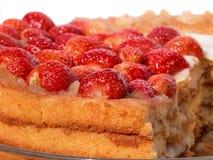 Strawberry Sponge Cake. With creamy almond cream Royalty Free Stock Images