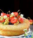 Strawberry sponge cake with fresh fruits Royalty Free Stock Image