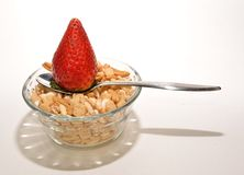 Strawberry spoon and cereal Stock Photo