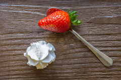 Strawberry on a spoon Stock Photo