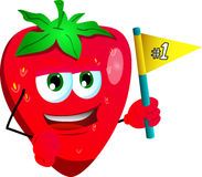 Strawberry sports fan with flag Royalty Free Stock Image