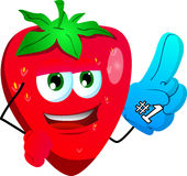 Strawberry sports fan with glove Royalty Free Stock Photography