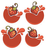 strawberry stickers Stock Images
