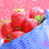 Strawberry - stock photos. Strawberries in blue plate - Valentines Day Gift or Summer Vitamins Food Stock Image