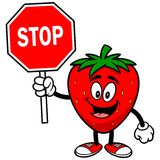 Strawberry with a Stop Sign Stock Photos