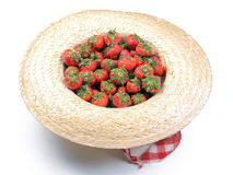 Strawberry in straw hat Royalty Free Stock Image