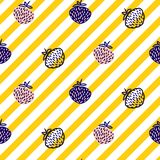 Strawberry and stripes yellow seamless vector pattern. Berry and geometric lines repeat abstract background royalty free illustration