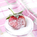 Strawberry in sugar. On the tablecloth Royalty Free Stock Photos