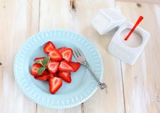 Strawberry with sugar Stock Images