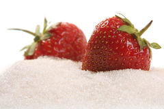 Strawberry in sugar. Strawberry isolated on white background in sugar royalty free stock photography