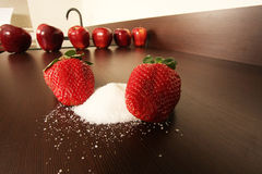 Strawberry with sugar Stock Photography
