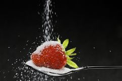 Strawberry and sugar Stock Photos