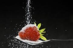 Strawberry and sugar Stock Photos