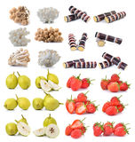 Strawberry , sugar cane, brown beech mushroom ,pear. On white background Stock Photography