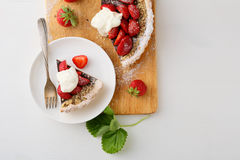 Strawberry summer tart with cream Stock Photography