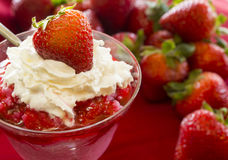 Strawberry sundae. With whip cream topped with a fresh strawberry in front of a pile of strawberries stock image