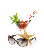 Strawberry, sunglasses and starfish Stock Image