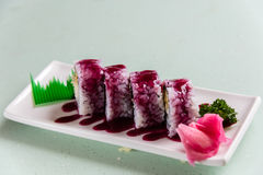 Strawberry Sushi. On the white plate royalty free stock photography