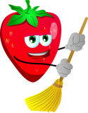 Strawberry sweeping with broom Royalty Free Stock Photo