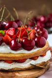 Strawberry and sweet cherry layer cake Stock Photography