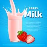 Strawberry sweet milkshake dessert cocktail Stock Images