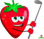 Strawberry swinging his golf club Royalty Free Stock Photos