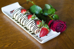 Strawberry swiss roll Royalty Free Stock Photography