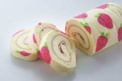 Strawberry Swiss Roll cake Royalty Free Stock Photos