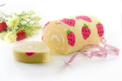 Strawberry Swiss Roll Stock Photos