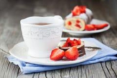 Strawberry swiss roll Stock Photo