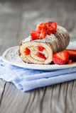Strawberry swiss roll Stock Image