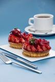 Strawberry tart. On blue background Stock Photography