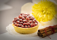 Strawberry tart with cinnamon. Strawberry tart with sugar powder and cinnamon royalty free stock photos