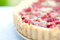 Strawberry tart close up. Close up of almond tart with strawberries Stock Image