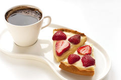 Strawberry tart with coffee Stock Image