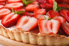 Strawberry tart with cream cheese macro. Horizontal background Stock Photo