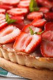 Strawberry tart with cream cheese macro. vertical background Royalty Free Stock Photos