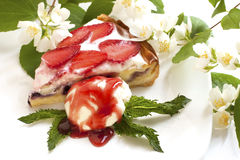 Strawberry tart with custard Stock Photography