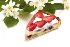 Strawberry tart with custard Stock Photos