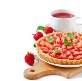 Strawberry tart with custard Stock Photo