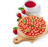 Strawberry tart with custard Royalty Free Stock Image