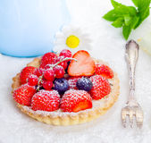 Strawberry tart dusted with sugar Stock Image