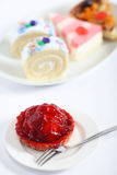 Strawberry tart with fork Stock Images