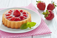 Strawberry tart. On a plate Stock Images