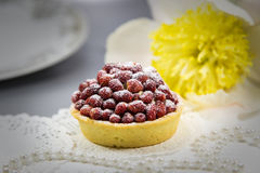 Strawberry tart. With sugar powder and pearls stock photos
