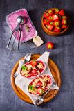 Strawberry tart with vanilla pudding and ice cream. A strawberry tart with vanilla pudding and ice cream Stock Images