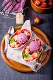 Strawberry tart with vanilla pudding and ice cream. A strawberry tart with vanilla pudding and ice cream Royalty Free Stock Photos
